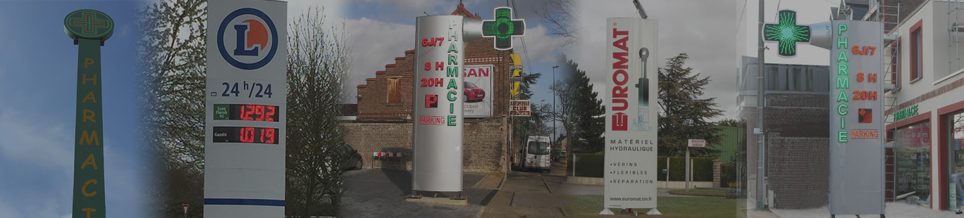 Totems lumineux Totems publicitaires et totems de signalisation à Amiens