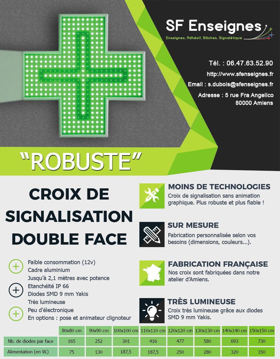 Croix de signalisation de pharmacie Robuste à Amiens