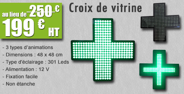 Croix de vitrine de pharmacie Amiens