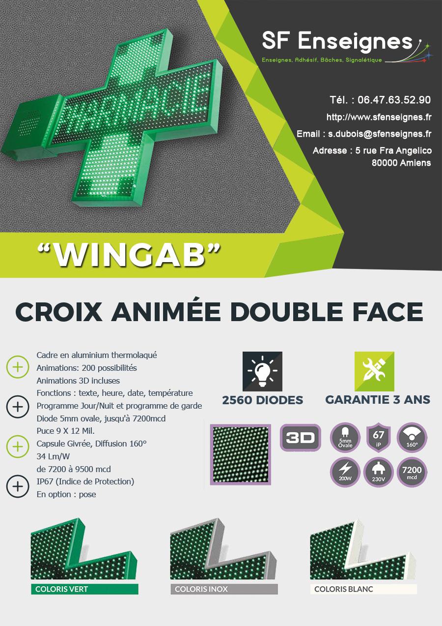 Croix de pharmacie animée et programmable à leds Wingab à Amiens