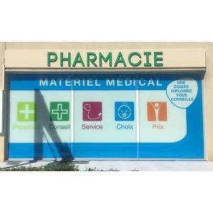 adhésif vitrophanie vitrine pharmacie Amiens