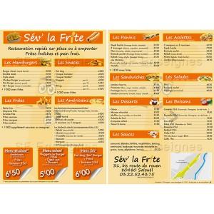 création impression brochure flyer tarif restaurant menu publicitaire Amiens Picardie Somme